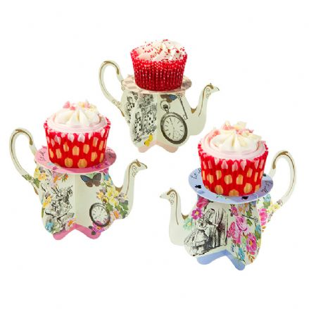 Alice in Wonderland, Truly Alice Teapot Cupcake Stands - pack of 6
